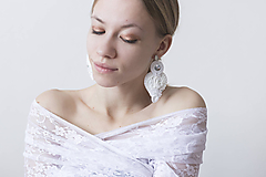 Náušnice - Svadobné hodvábne náušnice Omega - 10462596_