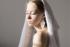 Náušnice - Svadobné hodvábne náušnice Lasy - 10462743_