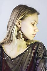 Náušnice - Hodvábne náušnice hnedé/medené - 10464082_