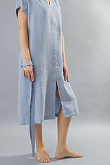 Šaty - Dámske ľanové šaty Mia, modré - 10461102_