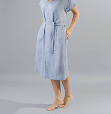 Šaty - Dámske ľanové šaty Mia, modré - 10461072_