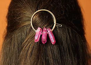 Ozdoby do vlasov - Ružová spona kruh - 10462988_