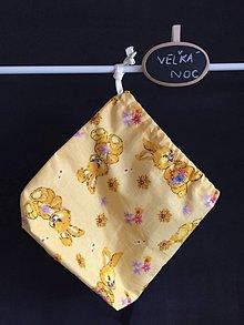 Úžitkový textil - žlté veľkonočné vrecúško - 10464047_