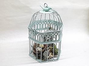 Dekorácie - Veľkonočná dekorácia s hniezdom v klietke - 10462850_