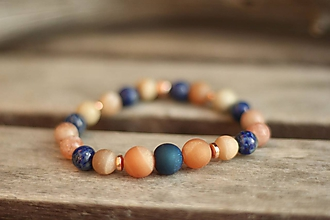 Náramky - Náramok z minerálov achát, slnečný kameň, lapis lazuli... - 10460910_