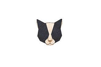 Odznaky/Brošne - Drevená brošňa Black Cat Brooch - 10465184_