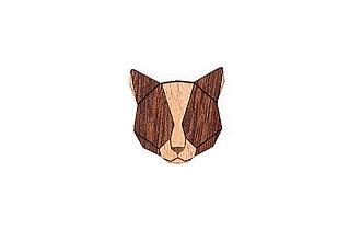 Odznaky/Brošne - Drevená brošňa Red Cat Brooch - 10465194_