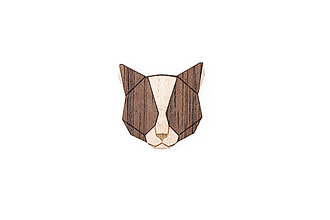 Odznaky/Brošne - Drevená brošňa Grey Cat Brooch - 10465204_