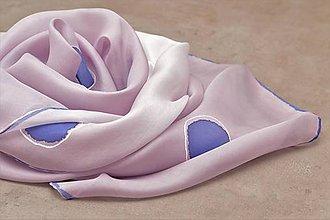Šály - Fialovo-ružová hodvábna ručne maľovaná štóla. - 10466792_