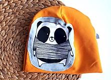 Detské čiapky - Čiapka panda - horčicová - 10466636_