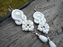 - Soutache náušnice Svadobné bielo-strieborné na želanie - 10464912_
