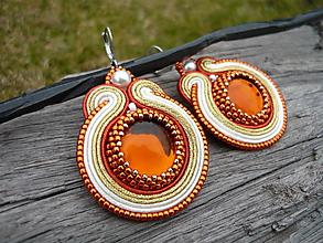 Náušnice - Soutache náušnice Golden Oranges - 10465588_