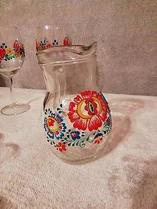 Nádoby - Džbánik červená kvetinka Folk - 10464450_