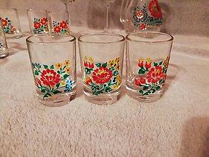 Nádoby - Štamperlíky nízke Folk - červená ružička - 10464503_