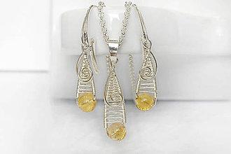Sady šperkov - set - vypletané kvapky s citrínom / Ag 925 - 10467930_