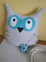Úžitkový textil - sova vankúš sivý (Tyrkysová) - 10464438_