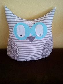 Úžitkový textil - sova vankúš sivý - 10464436_