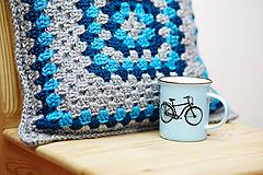 Úžitkový textil - Sivo-modrý vankúš - 10464465_