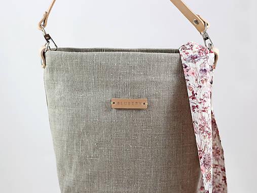 Prírodná crossbody ľanová kabelka s koženým remienkom (kabelka so zap.na  zips 4106a0e8d06