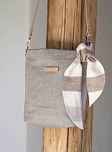 Kabelky - Prírodná crossbody ľanová kabelka s koženým remienkom - 10466313_