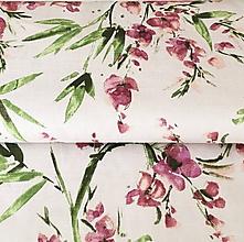 Textil - pevné režné plátno Orchidey, šírka 140 cm - 10464483_