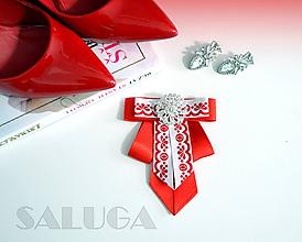 Odznaky/Brošne - Dámsky motýlik - červený - folklórny - 10465951_