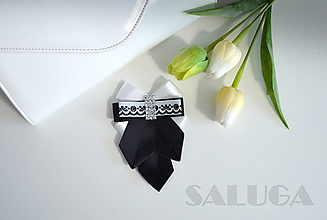Odznaky/Brošne - Dámsky motýlik - čierno biely - folklórny - 10467046_