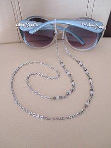 Iné šperky - Swarovski - retiazka na okuliare - chirurgická oceľ - šedo biela - 10464860_