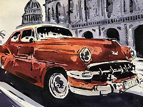 Obrazy - Červeny Chevrolet - 10465631_