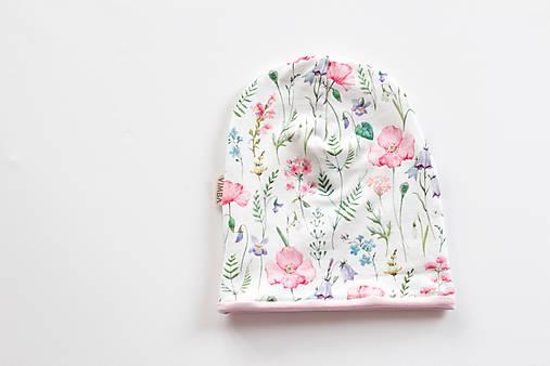 """Dvojvrstvová čiapka """"rozkvitnutá lúka"""""""