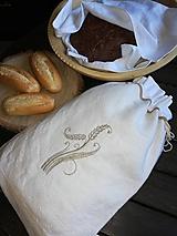 Úžitkový textil - Ľanové vrecko na chlieb, pečivo z  ručne tkaného  plátna - 10465962_