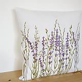 Úžitkový textil - Vankúš levanduľový - ručne maľovaný - 10464929_