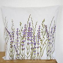Úžitkový textil - Vankúš levanduľový - ručne maľovaný - 10464928_