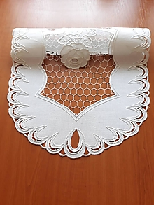 Úžitkový textil - Richelieu - Ruže v sieti, biela, 41,5 x 76 cm - 10464555_