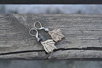 Náušnice - Kokosový list a achát strieborné náušnice - 10467524_