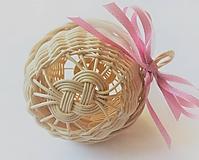 Dekorácie - Vianočná guľa s ružovou mašľou - 10465533_