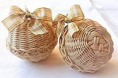 Dekorácie - Vianočné gule s lurexovou mašľou - 10465609_