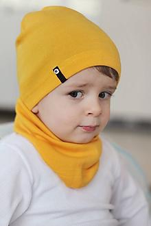 Detské čiapky - 100% merino Celoročný tenší set -žltá - 10465252_