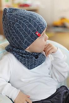 Detské čiapky - 100% merino Celoročný tenší set -modrá - 10467732_