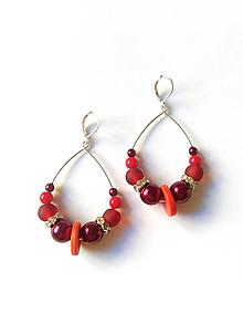 Náušnice - BOHO séria - červené náušnice - 10466504_