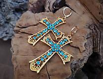 Náušnice - Filigránové náušnice zlato-tyrkysové - 10466860_