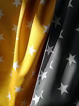 Textil - Bavlnená látka hviezdy - žltá a šedá - 10470402_