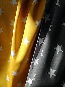 Textil - Bavlnená látka hviezdy - žltá a šedá (Šedá) - 10470402_