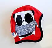 Detské čiapky - Panda čiapka červená - 10469847_