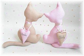 Dekorácie - Mačičky ružovo-béžové pre 2 sestričky - 10470481_