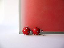 Náušnice - ,,Guľôčky bodkované-červené,, - 10471126_