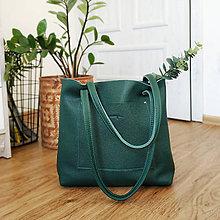 Nákupné tašky - Nina (kožená kabelka smaragdová) - 10468705_