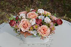 Dekorácie - Vintage dekorácia s ružami - 10471169_