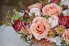Dekorácie - Vintage dekorácia s ružami - 10471178_