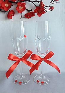 Nádoby - Svadobné poháre s menom-vodorovne - 10468904_